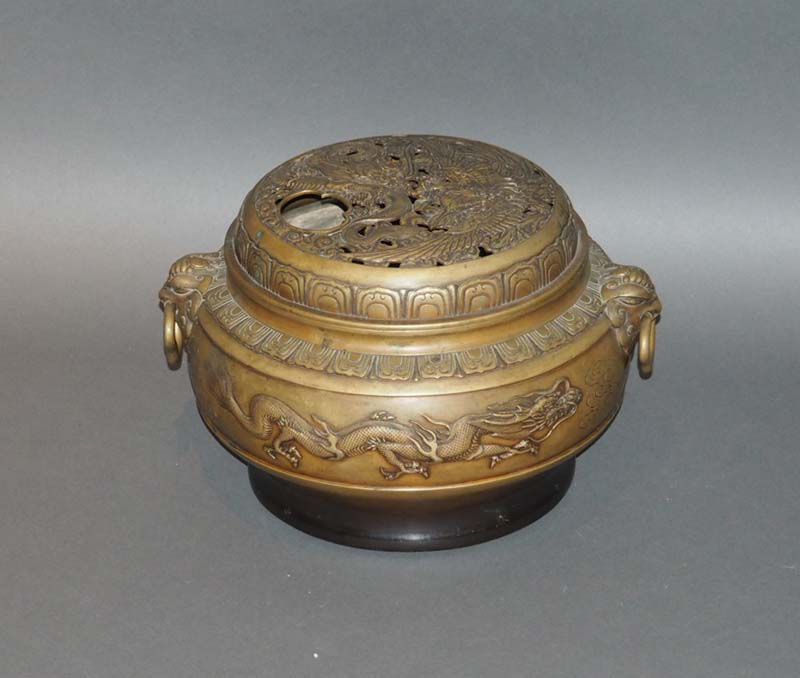 Chinese Antique Incense Burner,bronze dragon and phoenix censer - Chinese Antiques Japanese Antiques Tansu & Furniture - Kuraya